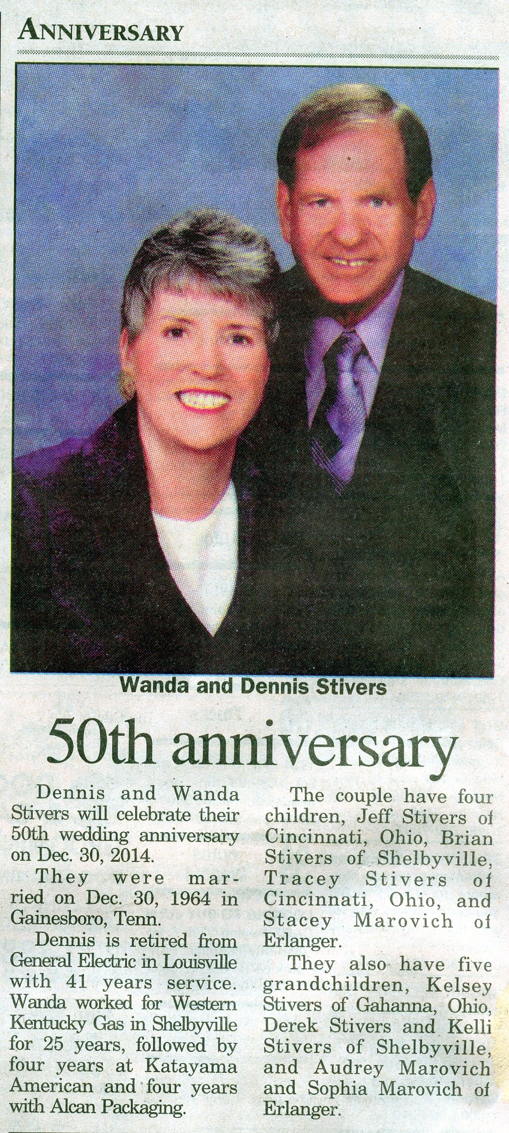 50th husband's content articles newspaper